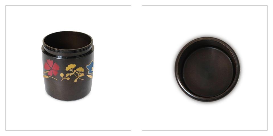 ミニ骨壷なごみ漆、秋の七草のディティール