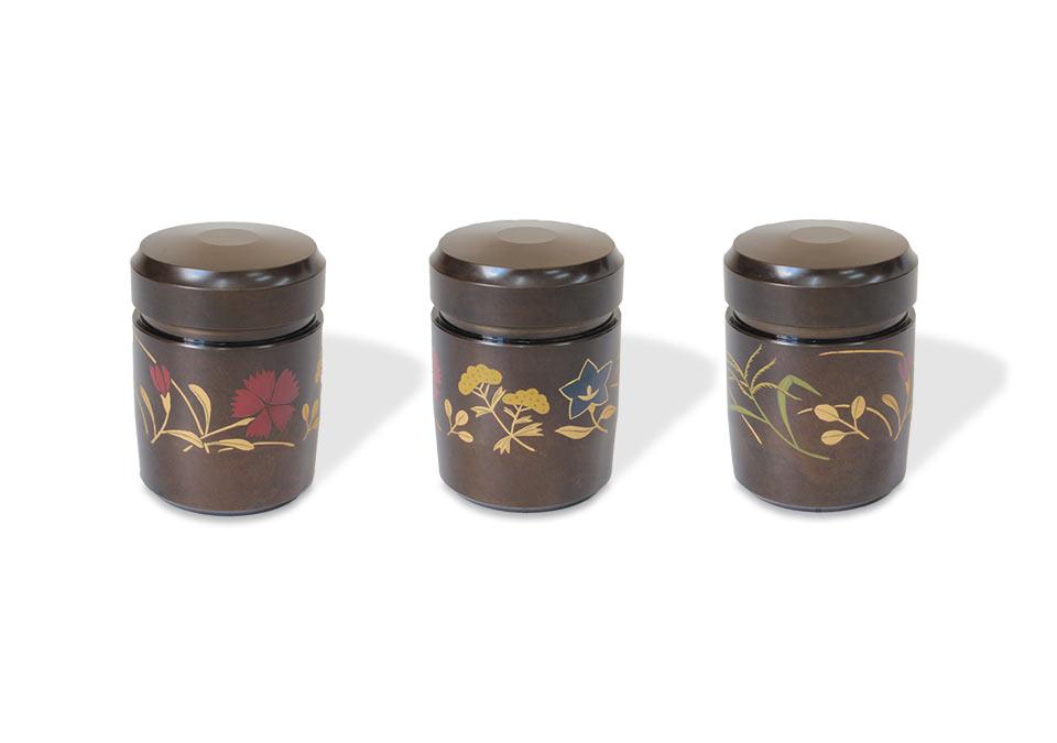 ミニ骨壷なごみ漆、秋の七草のデザイン見せ