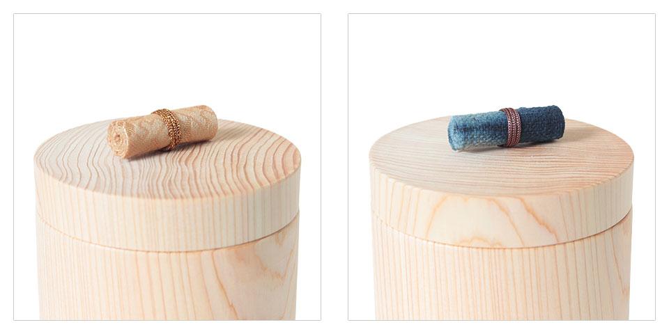ひのきの骨壷の蓋のツマミ飾り