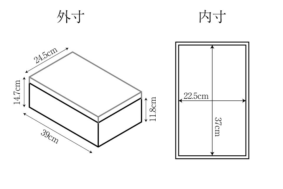 桐箱のサイズチャート